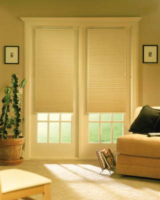 EcoSmart shades fit easily on doors.